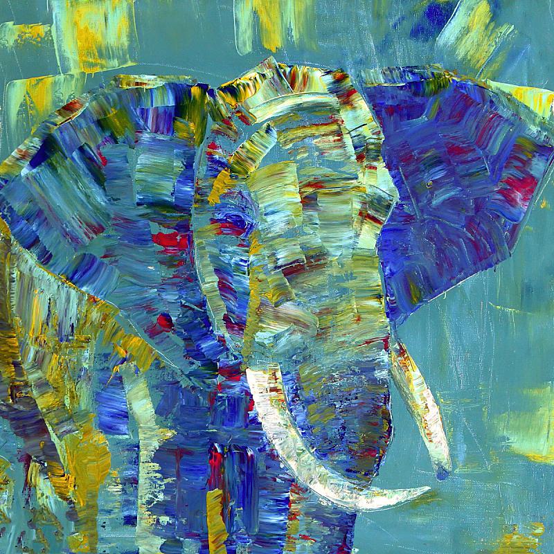 丙稀画,画布,涂料,象,艺术家,新的,纹理效果,绘画插图,动物身体部位