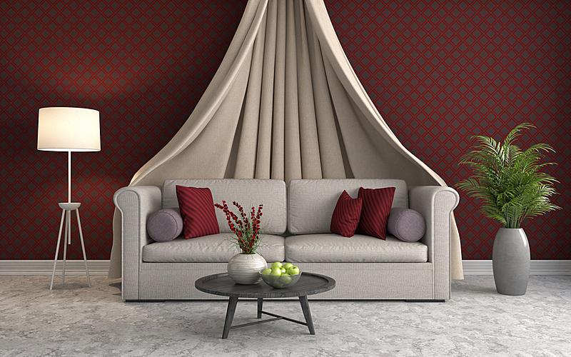 沙发,室内,绘画插图,三维图形,住宅房间,水平画幅,无人,装饰物,家具,舒服
