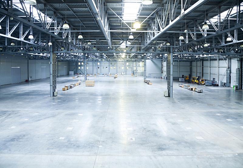仓库,里面,现代,巨大的,空的,飞机库,水泥地,大型商场,水泥,门厅
