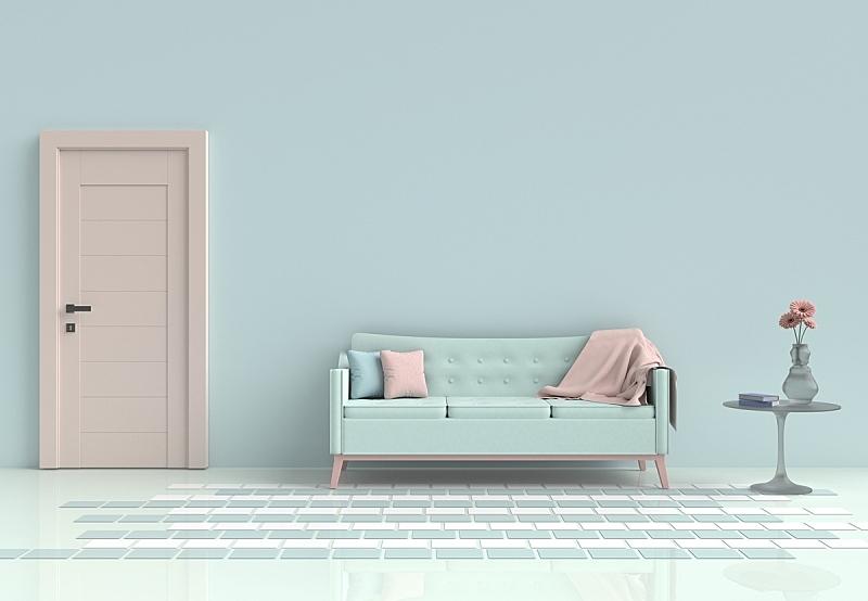 沙发,门,水泥,花瓶,毯子,枕头,绿色,桌子,墙,花