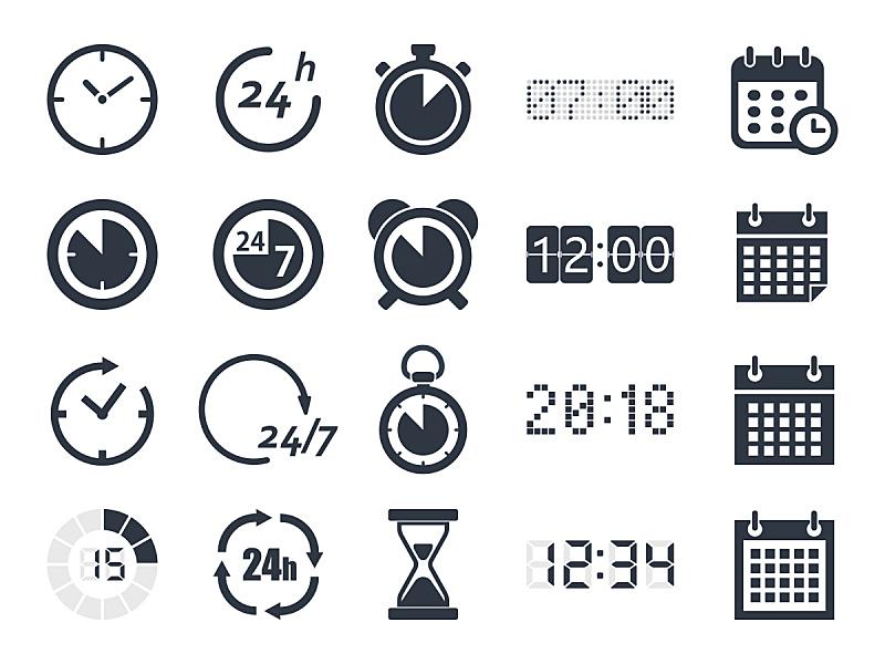 计算机图标,打卡器,水平画幅,形状,沙子,无人,历日,绘画插图,符号,秒表