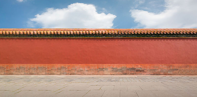 Red wall in The Forbidden City of Beijing