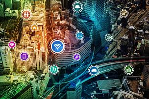 计算机网络,无线技术,技术,抽象,数字化显示,智慧城市,物联网,图像,沟通,改变