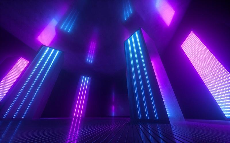三维图形,空的,紫外线,隧道,走廊,背景,霓虹灯,蓝色,抽象,发光