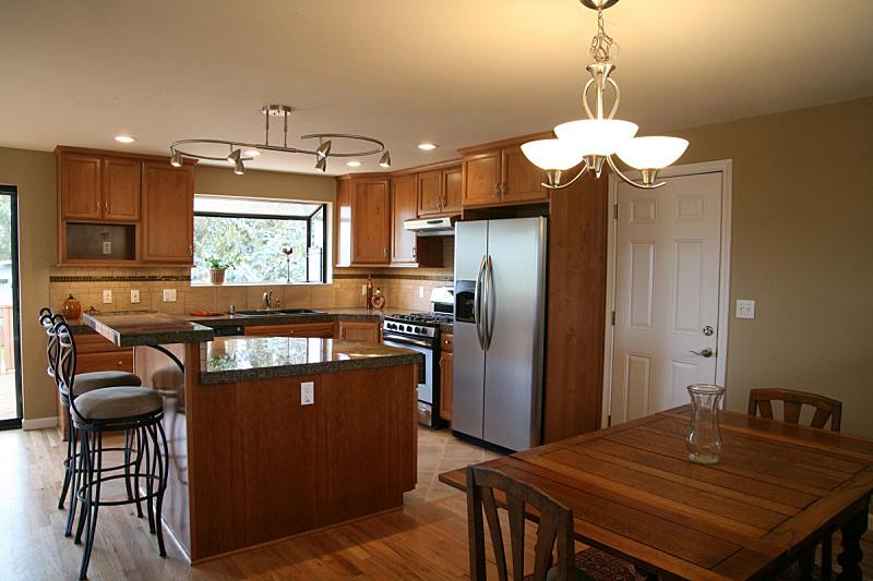 新的,厨房,闪亮的,非凡的,褐色,水平画幅,墙,椅子,错觉,石材