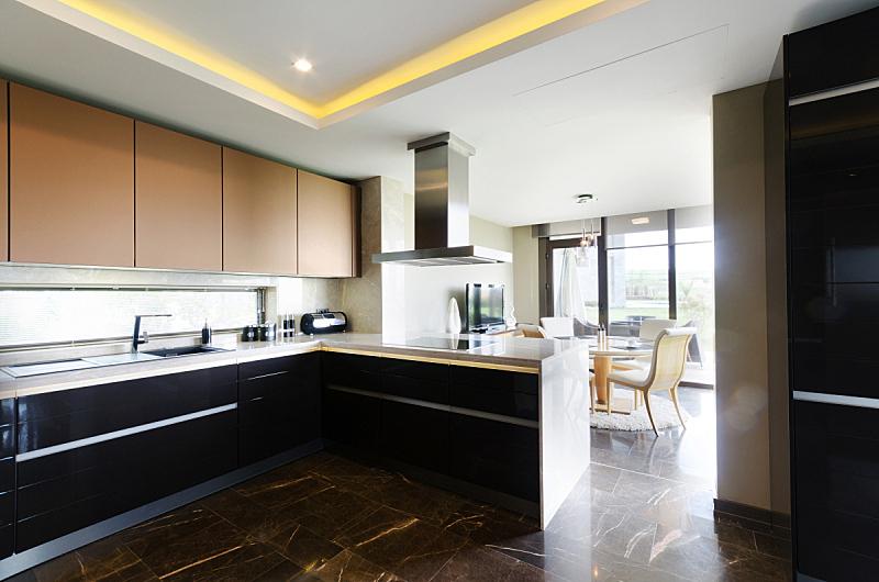 现代,厨房,住宅房间,住宅内部,椅子,干净,早餐室,档案柜,吃饭
