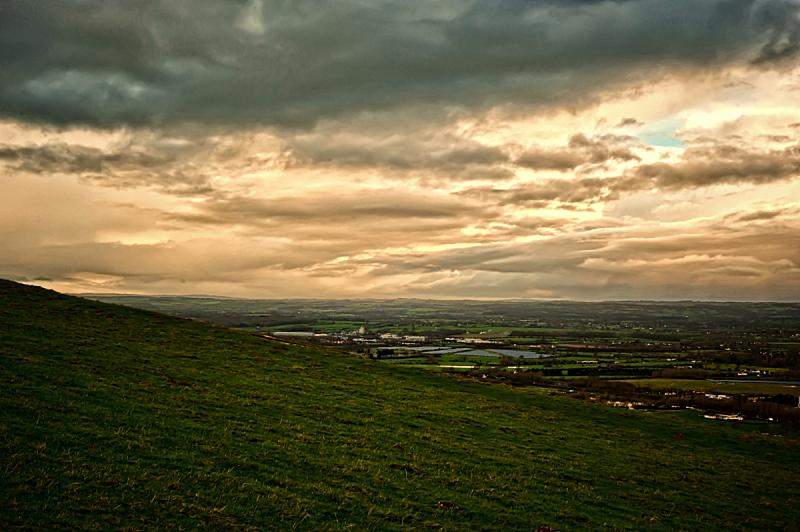 白马,地形,韦斯特伯里,自然,灰色,水平画幅,橙色,山,无人,早晨
