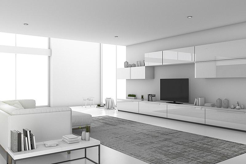白色,起居室,极简构图,三维图形,美,水平画幅,纹理效果,墙,无人,椅子