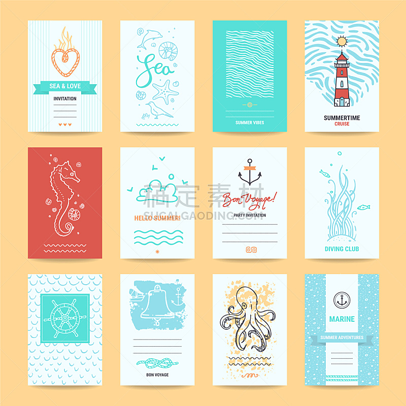 绘画插图,贺卡,夏天,你好,海马,标签,灯塔楼,结婚请柬,传单,模板