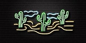 霓虹灯,仙人掌,分离着色,矢量,沙漠,背景,装饰,写实,覆盖