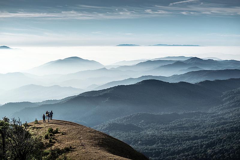 山,泰国,徒步旅行,天空,美,公园,水平画幅,早晨,旅行者,夏天