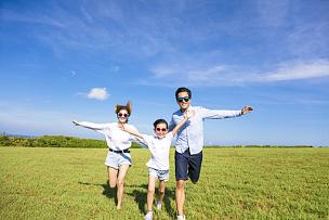 家庭,幸福,草,亚洲人,天空,夏天,日本人,青年人,跑,相伴