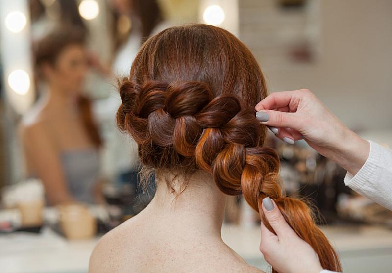 发型屋,纺织,多毛的,女孩,红色,发辫,法国,辫状,头发,发型