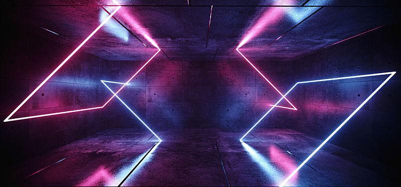 三维图形,未来,混凝土,长方形,粉色,霓虹灯,无人,蓝色,抽象,黑色