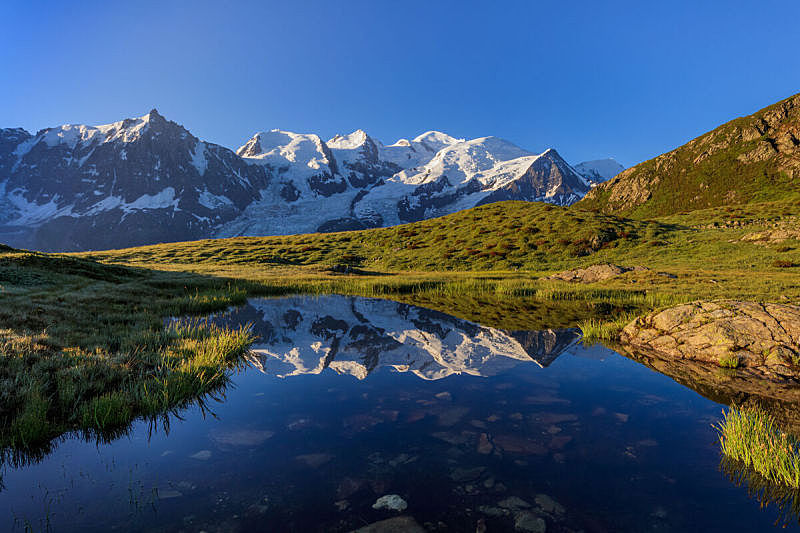 阿尔卑斯山脉,勃朗丛山,水,天空,美,水平画幅,雪,无人,夏天,户外