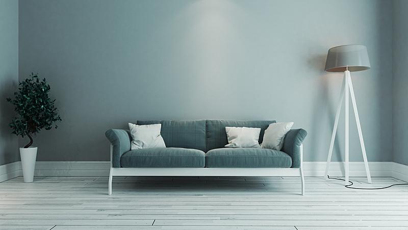 蓝色,起居室,想法,室内设计师,彩色图片,艺术,座位,水平画幅,纺织品,无人