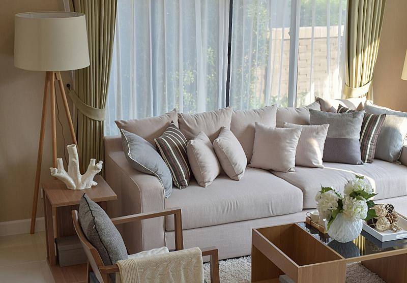 灯,现代,沙发,木制,住宅内部,起居室,褐色,水平画幅,无人,椅子