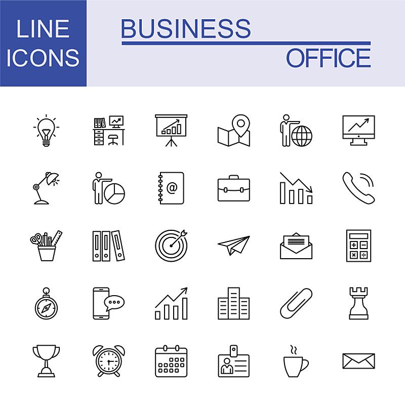 商务,线条,全球通讯,图标集,办公室,领导能力,绘画插图,税,经理,税表