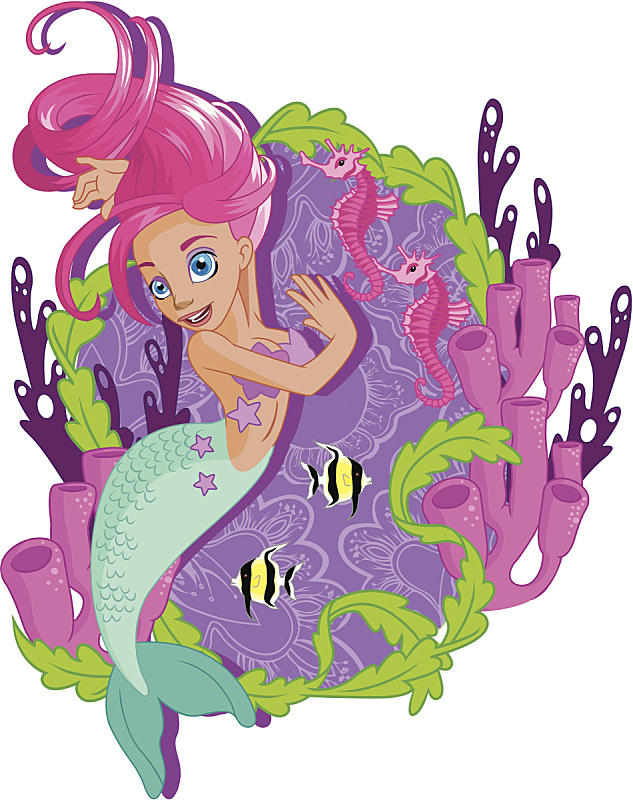 小美人鱼塑像,水,美,小的,可爱的,海马,美人,粉色头发,水下,长发