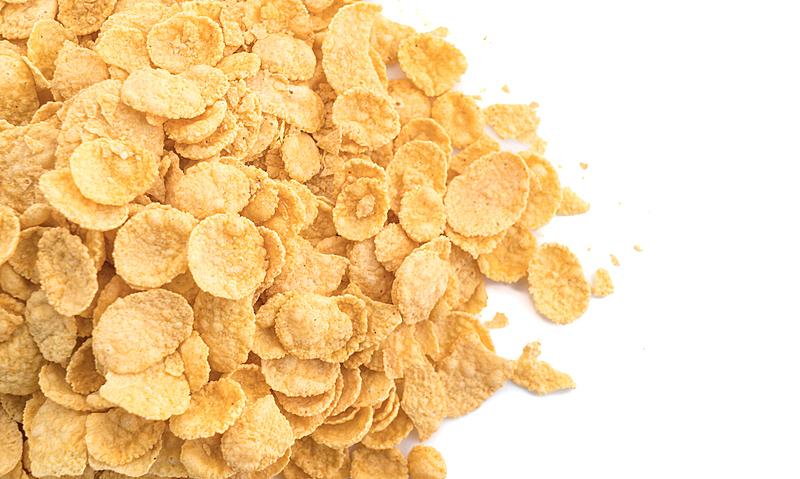 玉米片,白色背景,有机食品,黄色,碗,牛奶瓶,牛奶,健康食物,早餐,膳食