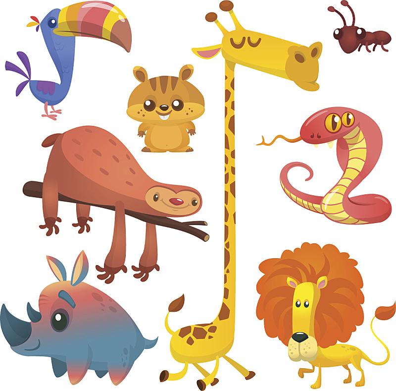 花栗鼠,眼镜蛇,蚂蚁,树懒,巨嘴鸟,犀牛,长颈鹿,卡通,蛇,绘画插图