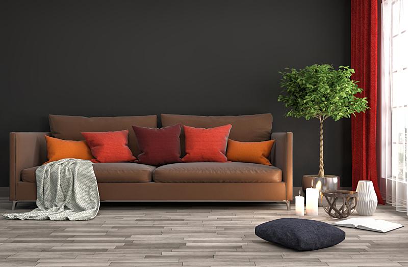 沙发,室内,三维图形,绘画插图,住宅房间,褐色,水平画幅,无人,装饰物,家具