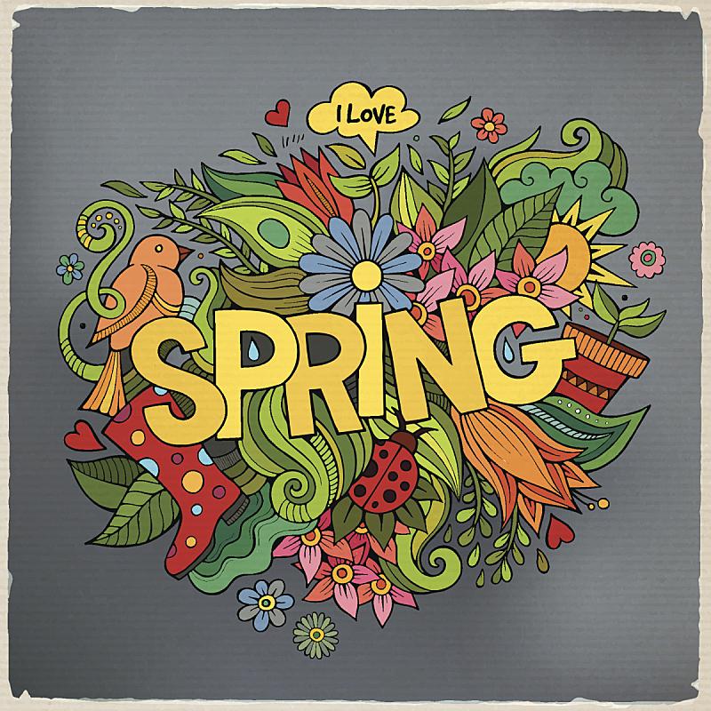 乱画,春天,文字,动物手,四元素,美,贺卡,蝴蝶,消息,绘画插图