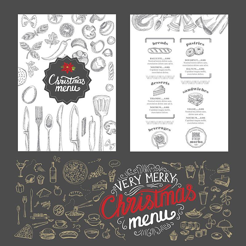 菜单,请柬,餐馆,新年前夕,食品,餐垫,晚餐,黑板,绘画插图