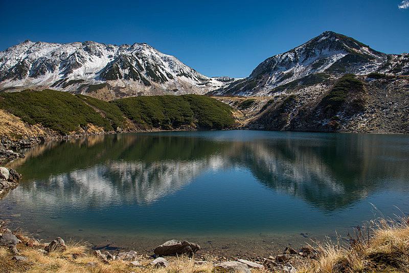 雪,池塘,山脉,富山,山,秋天,夏天,户外,天空,晴朗