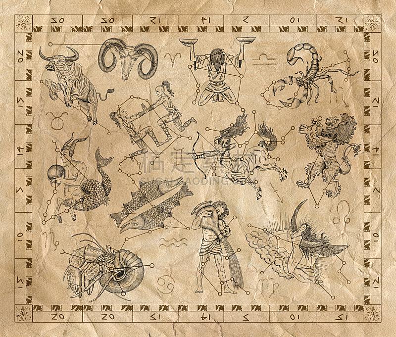 古典式,符号,布告,纸,十二宫图,双鱼座,射手座,天秤座,双子座,室女座