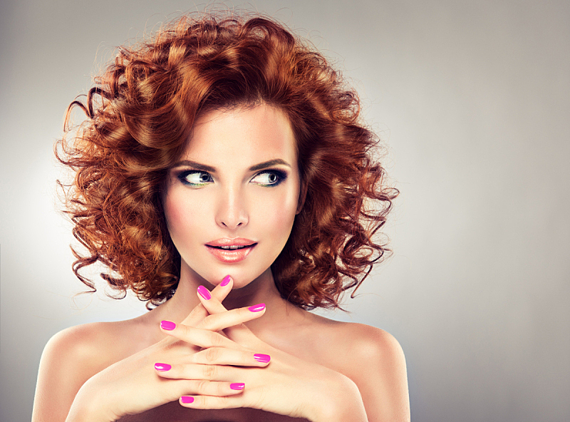 彩妆,可爱的,红色,卷着的,女孩,现代,短发,指甲,发型,红发人