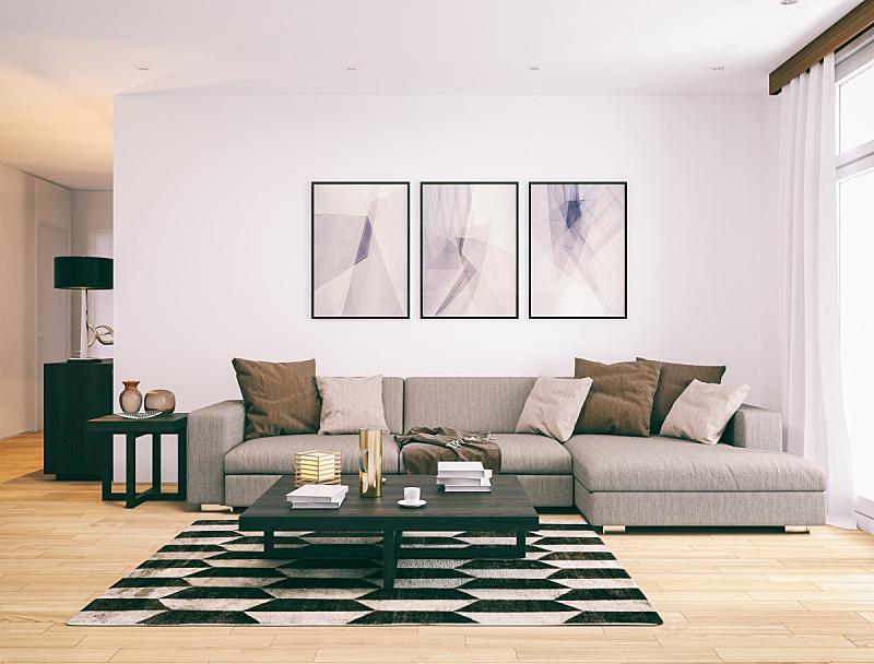 现代,起居室,极简构图,围墙,绘画艺术品,住宅内部,复式楼,地毯