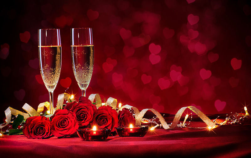 情人节,背景,情人节卡,香槟杯,香槟,长笛,浪漫,蜡烛,玫瑰,晚餐