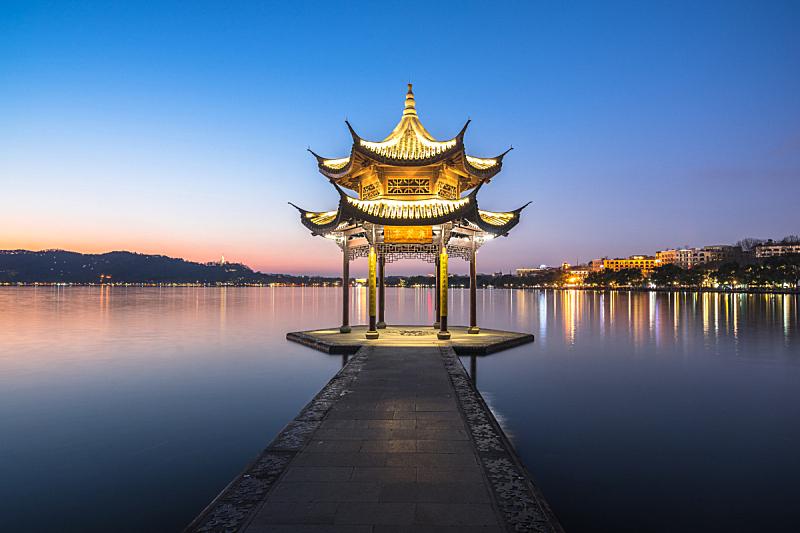 西湖,杭州,集贤亭,水,天空,美,水平画幅,云,无人,传统