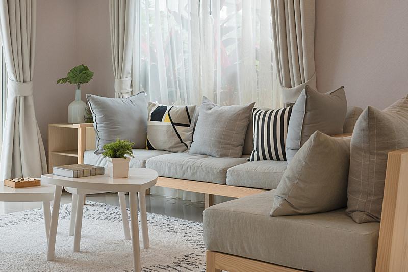 沙发,现代,起居室,木制,窗帘,华贵,舒服,装饰物,豪宅,住宅内部