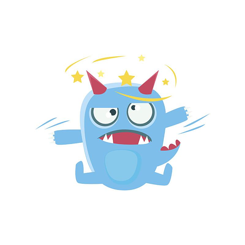 蓝色,尾巴,有角的,尖的,怪物,星形,动物眼睛,前面,眩晕的,恶魔