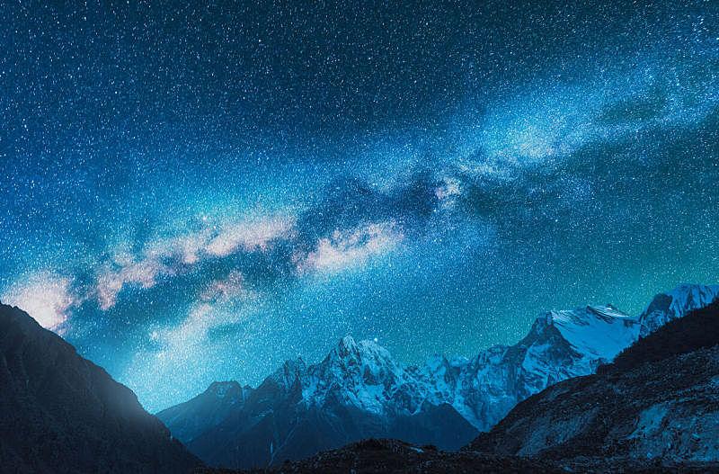 天空,星系,星星,夜晚,太空,喜马拉雅山脉,山脊,风景,尼泊尔,地形