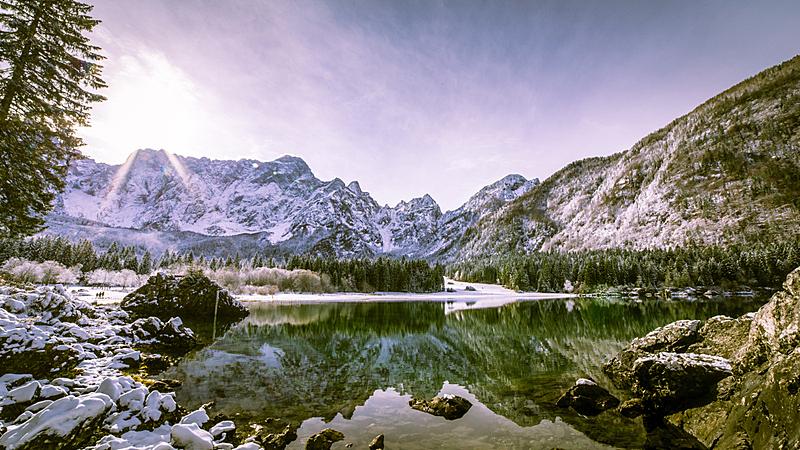 湖,山,雪,美,水平画幅,秋天,多洛米蒂山脉,阿尔卑斯山脉,无人,欧洲