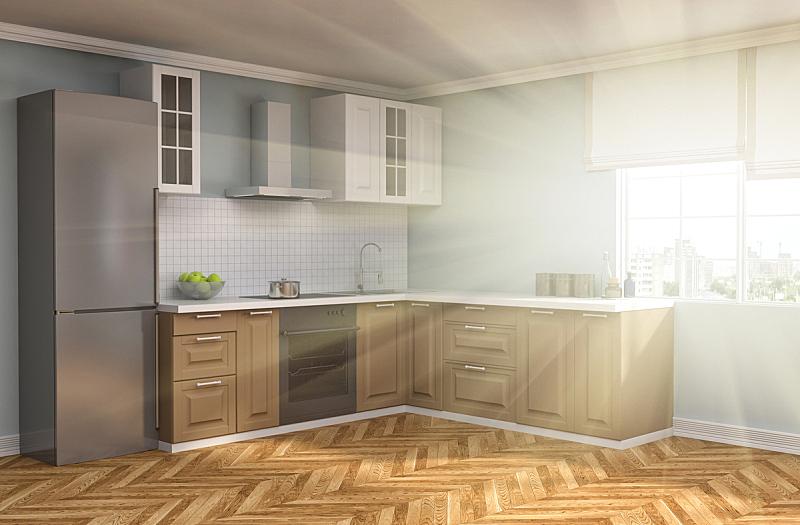 室内,厨房,绘画插图,三维图形,褐色,新的,水平画幅,无人,家具,干净