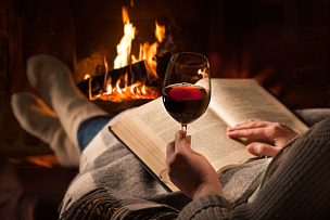 壁炉,书,女人,红葡萄酒,火,葡萄酒,饮料,舒服,含酒精饮料,冬天