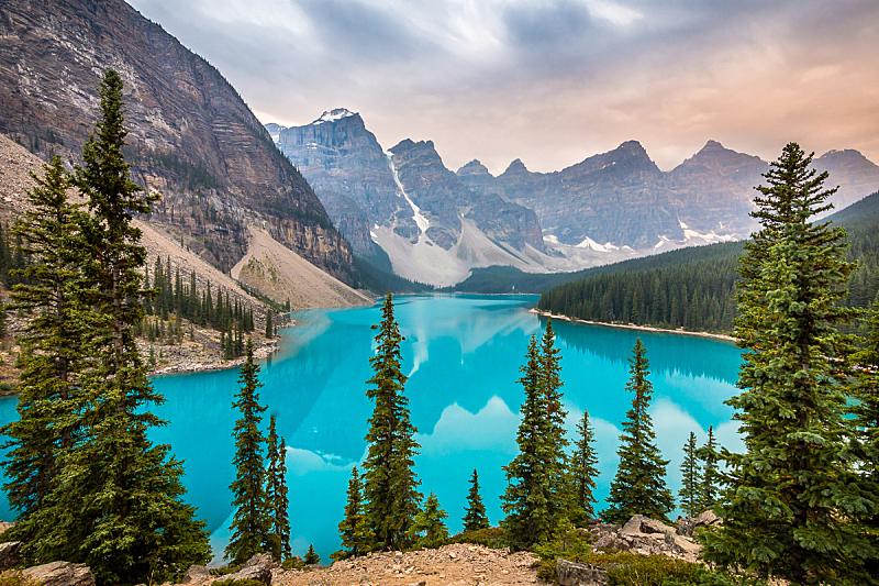加拿大,地形,户外,黎明,著名景点,风景,图像,全景,水平画幅,视角