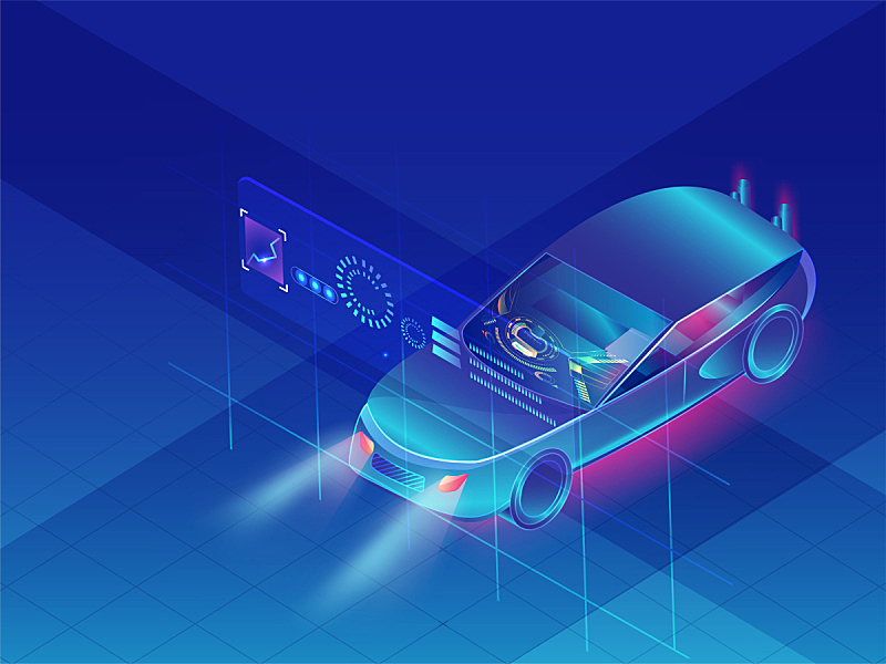 未来,技术,闪亮的,汽车,蓝色背景,水平画幅,红外摄影,智慧,无人,绘画插图