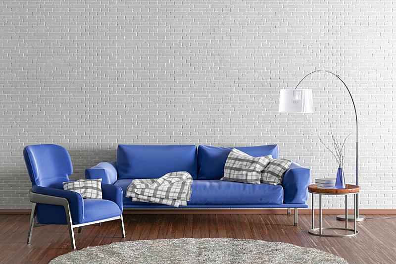 现代,起居室,室内,纺织品,砖,舒服,地板,椅子,模板,住宅内部
