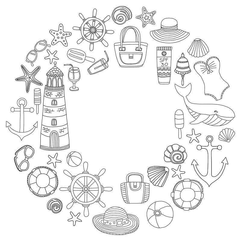 乱画,时尚,海滩,巨大的,沙滩包,鲸,车轮,直的,泳装,铃
