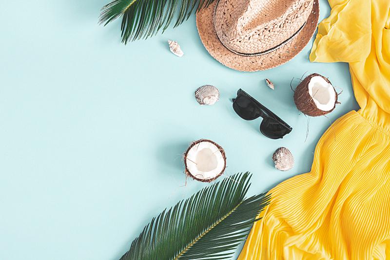 夏天,蓝色背景,概念,平铺,叶子,连衣裙,帽子,在上面,风景,构图