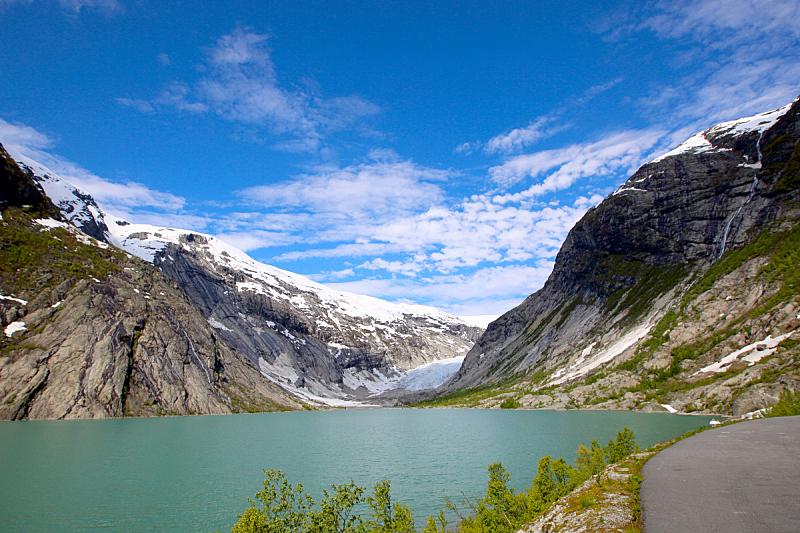 尼加斯布尔,冰河,briksdalsbreen glacier,约斯特谷冰原,松恩峡湾,水,天空,公园,水平画幅,雪