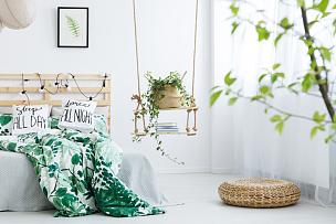 柳条,白色,卧室,跪垫,开放式设计,装饰物,自己动手,复式楼,装修,荡秋千