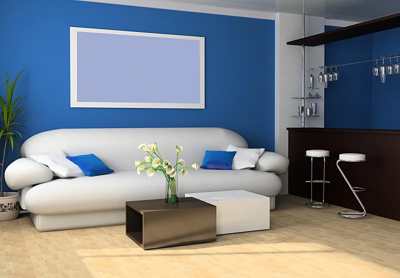 起居室,桌子,水平画幅,绘画艺术品,无人,椅子,蓝色,玻璃,现代,花束