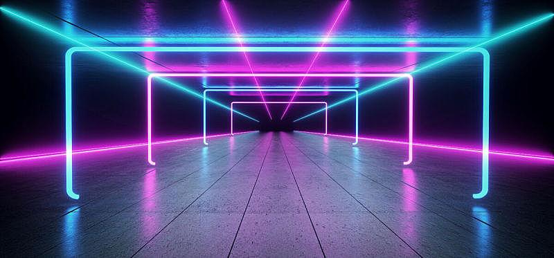 隧道,走廊,背景,三维图形,未来,荧光灯,霓虹灯,激光,无人,蓝色