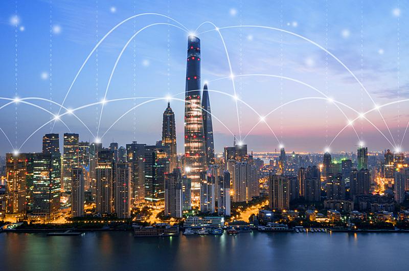 上海,网线插头,天空,未来,高视角,夜晚,都市风景,现代,国际著名景点,云计算